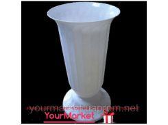 Ваза для цветов пластик Украина 38 см белая 02073
