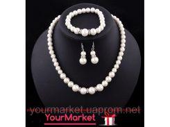 Набор бижутерии имитация жемчуга  ожерелье, браслет, серьги