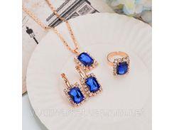 Набор украшений Feng ожерелье, серьги, кольцо с камнями синего цвета