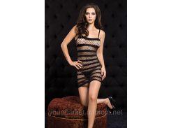 Черное платье - сетка в полоску