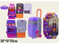 Холодильник-чемодан 9911 (6шт) батар(3АА), +мойка,духовка,на колесах,продукт, посуд,в кор.36*20*18см