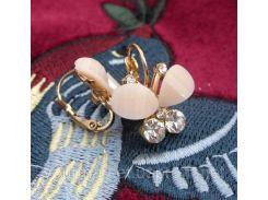 Красивые серьги в форме бабочки камни блестящие молочного цвета