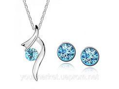 Набор бижутерии ожерелье колье с камнем серьги