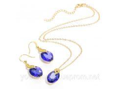 Набор бижутерии CWEEL цепочка подвеска серьги с камнями синего цвета