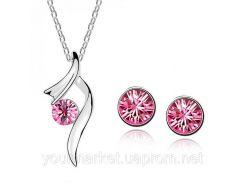 Нежный набор бижутерии ожерелье колье с камнем серьги