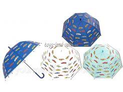 Зонт D15916 (C15916)  3 вида, машинки, матов.клеенка, купол.форма, в пакете 45см