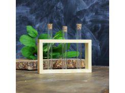 Подставка деревянная с пробирками (3 пробирки) натуральный 300546 СП