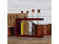 Подставка деревянная с пробирками (4 пробирки) вишня 300549 СП