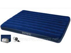 Кровать надувная велюр 68759  синяя, без насоса, в кор. 152*203*22см