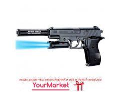 Пистолет P2118-B батар.,свет,глушитель,пульки в коробке 21*14,5*4см