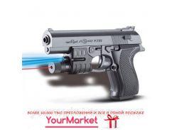 Пистолет SM729+  батар.,лазер,свет,пульки в пакете 17*11см
