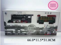 Железная дорога батар.YY-125 (701829R)паровоз+1вагон,свет,звук,дым,на рус.языке,18сегментов,дл