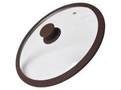 Крышка стеклянная c мраморным силиконовым ободком Fissman Arcades 26 см темно-коричн. 9969 F