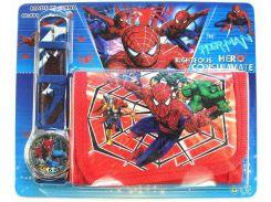 Часы кварцевые детские Человек Паук и Мстители в наборе с кошельком
