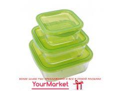 Набор емкостей для еды квадратных 3 пр (360мл, 720мл, 1170мл) Luminarc Keep'n'Box N0018