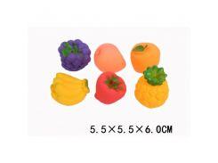 """Пищалка F2006 (1728234) """" Фрукты"""" 6 видов,размер изделия 5,5*5,5*6 см,в пакете"""