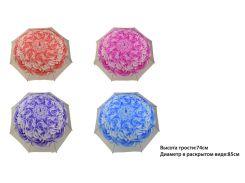 """Зонт """"Цветок"""" 4 вида, высота трости-74см, диаметр в раскрытом виде-85см /100/"""