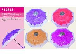 "Зонт ""Цветок"" 4 вида, прозрачная клеенка, в п/э 60см  /60-3/"