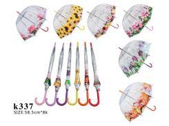 Зонт 6 видов, купол, в пакете, длина трости - 81см /60-5/