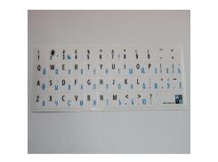 наклейка на клавиатуру основа белая символ черный-голубой лам.