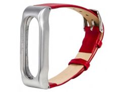 Кожаный ремешок MiJobs для Xiaomi Mi Band 2 Leather belt Red / Silver