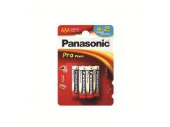 Батарейка Panasonic PRO POWER AAA BLI 6 (4+2) ALKALINE (LR03XEG/6B2F)