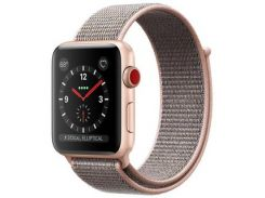 Apple Watch Series 3 38mm GPS+LTE Gold Aluminum w. Pink Sand Sport L. (MQJQ2)