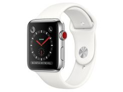 Apple Watch Series 3 GPS + Cellular 38mm Stainless Steel Case With Soft White Sport Band (MQLV2)