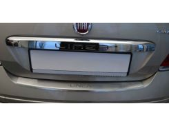Накладка на бампер с загибом Fiat Linea FL 2012- NataNiko Premium