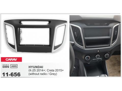 Рамка переходная Carav 11-656 Hyundai IX-25 2014+/Greta 2015+ (without radio/Grey)