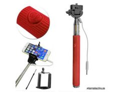 Монопод для селфи Monopod with cable take pole red