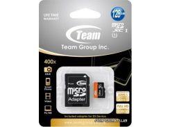 Карта памяти Team microSDXC 128GB Class 10 UHS| (TUSDX128GUHS03) для телефона или планшета