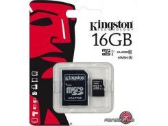 Карта памяти Kingston microSDHC 16GB Class 10 UHS-I SD-adapter (SDC10G2/16GB) для телефона или планшета