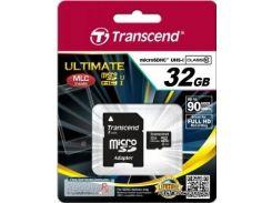 Карта памяти Transcend microSDHC 32GB Class 10 UHS-I UltimateX600 + ad (TS32GUSDHC10U1) для телефона или планшета