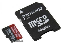 Карта памяти Transcend microSDXC 128GB Class 10 UHS-I PremiumX300 + ad (TS128GUSDU1) для телефона или планшета