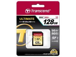 Карта памяти Transcend SDXC 128 GB UHS-I Ultimate U3 (R95, W60MB/s) (TS128GSDU3) для фотоаппарата