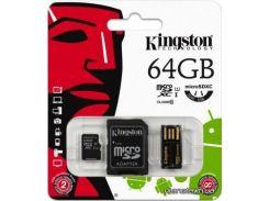 Карта памяти Kingston microSDXC 64GB Class 10 Mobility Kit Gen2 (MBLY10G2/64GB) для телефона или планшета