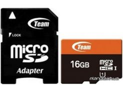 Карта памяти Team Xtreem MicroSDHC UHS-1 16GB + SD-adapter (TUSDH16GUHS03) для телефона или планшета