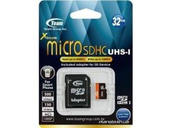 Карта памяти Team Xtreem MicroSDHC UHS-1 32GB + SD-adapter (TUSDH32GUHS03) для телефона или планшета