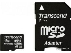 Карта памяти Transcend microSDHC 16GB Class 10 UHS-I UltimateX600 + adapter (TS16GUSDHC10U1) для телефона или планшета