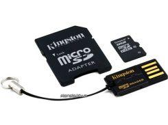 Карта памяти Kingston microSDHC 32GB Class 10 +SD adapter +USB reader (MBLY10G2/32GB) для телефона или планшета