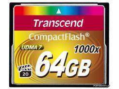 Карта памяти Transcend Compact Flash 64 GB (1000X) (TS64GCF1000) для фотоаппарата