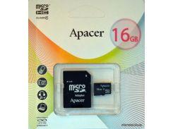 Карта памяти Apacer MicroSDHC 16GB Class 4 + SD Adapter (AP16GMCSH4-R) для телефона или планшета