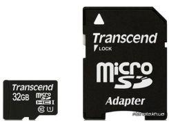 Карта памяти Transcend MicroSDHC 32GB Class 10 UHS-I Premium + SD Adapter (TS32GUSDU1) для телефона или планшета