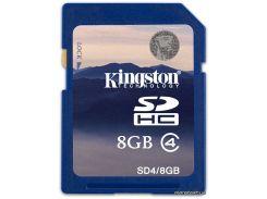 Карта памяти Kingston SDHC 8GB Class 4 (SD4/8GB) для фотоаппарата