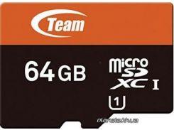 Карта памяти Team microSDXC 64Gb class 10 (TUSDX64GUHS03) для телефона или планшета