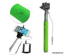 Монопод для селфи Monopod with cable take pole green