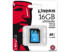 Карта памяти Kingston SDHC 16 GB class 10 UHS-I Ultimate (SDA10/16GB) для фотоаппарата