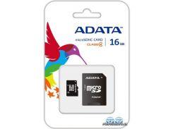 Карта памяти ADATA MicroSDHC 16GB Class 4 + SD Adapter (AUSDH16GCL4-RA1) для телефона или планшета