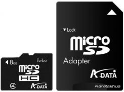 Карта памяти ADATA MicroSDHC 8GB Class 4 + SD Adapter (AUSDH8GCL4-RA1) для телефона или планшета